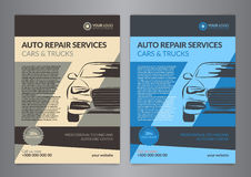 Plantillas automotrices de la disposición del negocio de los centros de servicio A5, plantillas autos del folleto del taller de r Fotos de archivo