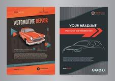 Plantillas autos de la disposición del aviador del negocio de servicios, portada de revista de la reparación de automóviles, foll fotografía de archivo