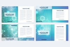 Plantillas científicas folleto cuadrado, revista, prospecto, aviador, cubierta, folleto, informe anual Concepto científico para libre illustration