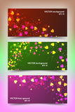 Plantillas coloreadas de la bandera con los pequeños corazones Imagen de archivo libre de regalías