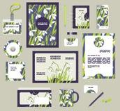 Plantillas corporativas del negocio del estilo Sistema del diseño floral de la primavera Foto de archivo libre de regalías