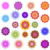 Plantillas de flores estilizadas coloreadas brillantes Imagen de archivo