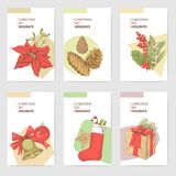 Plantillas de Holly Christmas Vintage Greeting Cards ilustración del vector