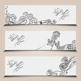 Plantillas de la bandera fijadas con los elementos florales Imagenes de archivo
