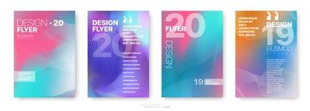 Plantillas de la cubierta fijadas con los elementos geométricos gráficos stock de ilustración