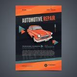 Plantillas de la disposición de los servicios de reparación auto, portada de revista del automóvil, folleto auto del taller de re Foto de archivo libre de regalías
