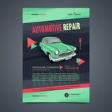 Plantillas de la disposición de los servicios de reparación auto, portada de revista del automóvil, folleto auto del taller de re Imagenes de archivo