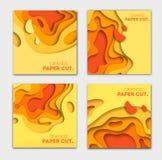 Plantillas de las banderas con formas anaranjadas del corte del papel Diseño abstracto moderno del otoño brillante Ilustración de fotos de archivo libres de regalías
