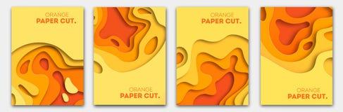 Plantillas de las banderas con formas anaranjadas del corte del papel Diseño abstracto moderno del otoño brillante Ilustración de imagen de archivo
