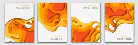 Plantillas de las banderas con formas anaranjadas del corte del papel Diseño abstracto moderno del otoño brillante Ilustración de fotografía de archivo libre de regalías