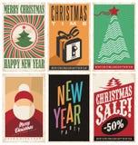 Plantillas de las tarjetas de Navidad en vieja textura de papel Imagen de archivo