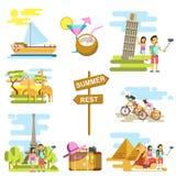 Plantillas de las vacaciones de verano y del vector de la aventura del viaje ilustración del vector