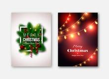 Plantillas de los folletos de la Navidad, tarjetas decorativas Pino t del Año Nuevo Fotografía de archivo