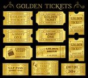 Plantillas de oro del boleto del vector Imagenes de archivo
