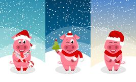 Plantillas del Año Nuevo para las tarjetas, invitación con los cerdos divertidos que llevan a Santa Hats imagenes de archivo