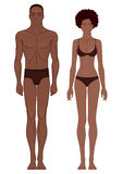 Plantillas del cuerpo: Pares afroamericanos musculares atléticos aptos Imagen de archivo