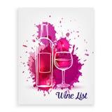 Plantillas del diseño de la carta de vinos Imagen de archivo libre de regalías