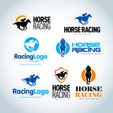 Plantillas del logotipo de la carrera de caballos fijadas La carrera de caballos simboliza la plantilla Variaciones aisladas del  stock de ilustración