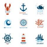 Plantillas del logotipo del tema del mar stock de ilustración