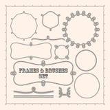 Plantillas del marco del vector y cepillos de la cuerda Colección del elemento del diseño Fotos de archivo libres de regalías