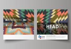 Plantillas del negocio para el folleto cuadrado del diseño, revista, aviador, folleto Cubierta del prospecto, disposición abstrac Fotografía de archivo
