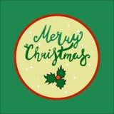 Plantillas del vector de la tarjeta de Navidad objetos dibujados mano en fondo Fotografía de archivo