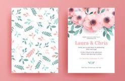 Plantillas delicadas de la invitación de la boda stock de ilustración