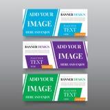 Plantillas diagonales del diseño de la bandera Vector del diseño de la bandera del web con el texto, botón Plantilla Editable de  Fotos de archivo libres de regalías