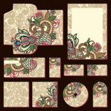 Plantillas florales adornadas del estilo del negocio stock de ilustración