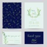 Plantillas florales de la invitación de la boda fijadas Ahorre las tarjetas de fecha con el lugar para su texto y hojas tropicale Imagenes de archivo