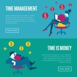 Plantillas horizontales del sitio web de la gestión de tiempo Fotografía de archivo