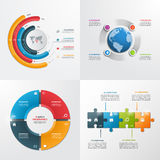 4 plantillas infographic del vector de los pasos Imagen de archivo