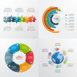 6 plantillas infographic del vector de los pasos Foto de archivo