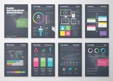 Plantillas infographic planas coloridas en fondo negro Foto de archivo