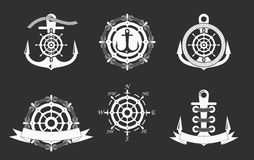 Plantillas náuticas de los logotipos fijadas Vector el objeto y los iconos para Marine Labels, insignias del mar, logotipos del a ilustración del vector