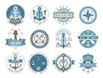 Plantillas náuticas del logotipo fijadas Imágenes de archivo libres de regalías
