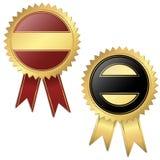 2 plantillas - negro y rojo del sello de calidad Imagen de archivo