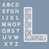 Plantillas para cortar letras Alfabeto inglés completo Puede ser utilizado para el corte del laser stock de ilustración