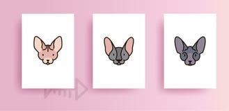 Plantillas para el diseño de tarjetas con los gatos ilustración del vector
