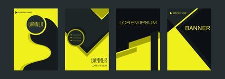 Plantillas para las banderas verticales de la web con los elementos amarillos y negros que entrecruzan líneas y el espacio para u ilustración del vector