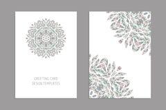 Plantillas para las tarjetas del saludo y de visita, folletos, cubiertas con adornos florales libre illustration