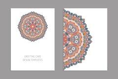 Plantillas para las tarjetas del saludo y de visita, folletos, cubiertas con adornos florales Modelo oriental mandala libre illustration