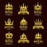 Plantillas reales de oro del logotipo de la corona del vector de la calidad fijadas libre illustration