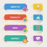 Plantillas retras de la navegación del web con los iconos Foto de archivo