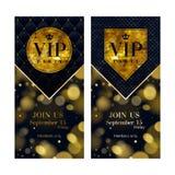Plantillas superiores del diseño de la tarjeta de la invitación del VIP fijadas Foto de archivo