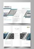 Plantillas triples del negocio del folleto en ambos lados Disposición editable fácil del vector en diseño plano Infinito abstract Imágenes de archivo libres de regalías