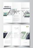 Plantillas triples del negocio del folleto en ambos lados Disposición editable fácil en diseño plano stock de ilustración