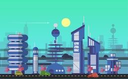 Plantillas urbanas ocupadas del paisaje urbano stock de ilustración