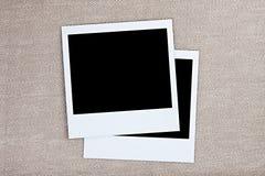 Plantillas vacías de la tarjeta de la foto en lona Imagen de archivo libre de regalías