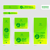Plantillas verdes y amarillas de la publicidad de la bandera Imagen de archivo